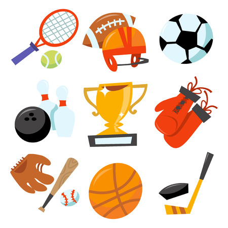 This image is a cartoon vector illustration of sporting icons set. Its fun, wonky and colorful isolated on a white background. Nine different popular sports icons like tennis racket with tennis ball, football ball with football helmet, soccer ball, bowli Illustration