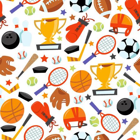 Deze afbeelding is een cartoon vector illustratie van sportieve iconen naadloze patroon achtergrond. Gevuld met verschillende populaire sportieve apparatuur zoals tennis racket met een tennisbal, voetbal bal met voetbal helm, voetbal, bowling bal met bo