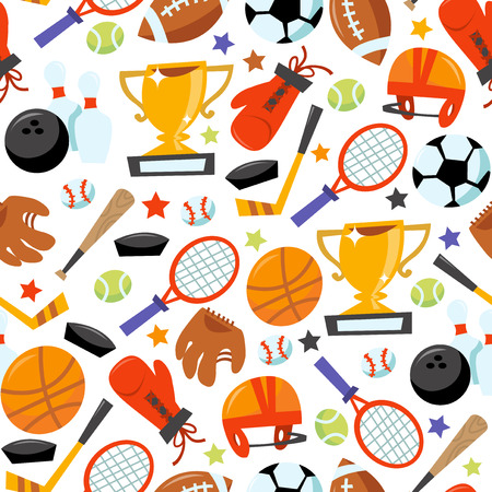 This image is a cartoon vector illustration of sporting icons seamless pattern background. Filled with various different popular sporting equipments like tennis racket with tennis ball, football ball with football helmet, soccer ball, bowling ball with bo