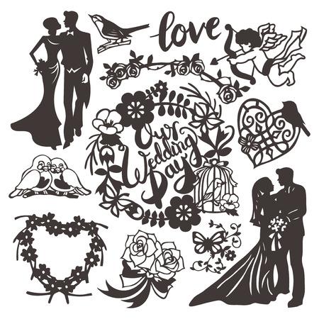 이 이미지는 빈티지 영감 스타일을 잘라 종이 결혼식 실루엣 세트의 벡터 그림입니다. 이 세트는 신부, 신랑, 결혼식 날 문구, 선조 심장, 큐피드, 사랑