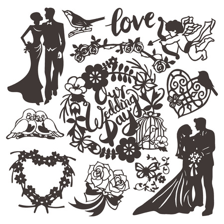 This image is a vector illustration of vintage inspired paper cut style wedding silhouette set. This set includes bride, groom, our wedding day phrase, filigree heart, cupid, love phrase, heart shape flowers wreath, love birds, bridal bouquet, roses, wedd