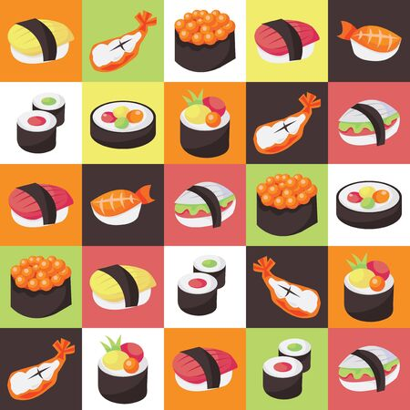 This image is a colorful vector illustration of japanese sushi tiles background.