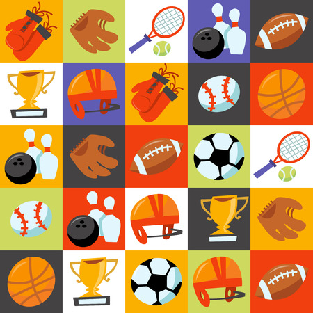 This image is a cartoon vector illustration of sporting icons tiles background. Filled with various different popular sporting equipments like tennis racket with tennis ball, football ball with football helmet, soccer ball, bowling ball with bowling pins,