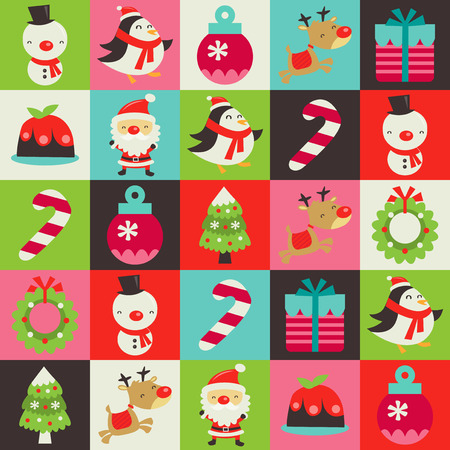 This image is a retro cute vector illustration of colorful chistmas tiles pattern background with various christmas symbols like christmas tree, christmas stocking, pudding, reindeer, santa claus, snowman, penguin, christmas wreath and gift.