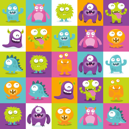 This image is a cartoon vector illustration of happy, silly, cute monsters in multicolor 5x5 tiles pattern background. The monsters are in different colors: dark purple, orange, pink, lime green and blue.  They are making funny faces such as sticking out