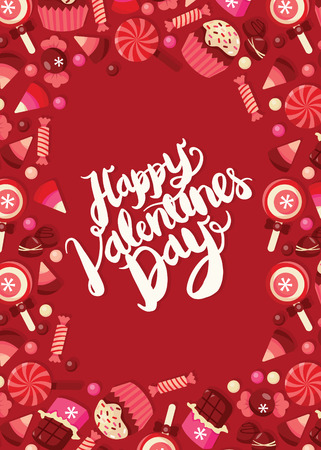 This image is a vector illustration sweet chocolates and candies theme frame background with happy valentines day hand lettering phrase. The greeting phrase is surrounded and framed by various candies, sweet treats and chocolates on a red rectangle copy  Vector