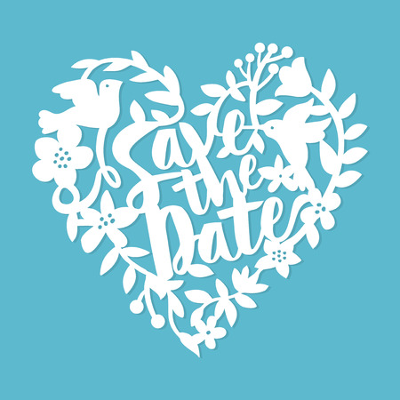 cut flowers: This image is a vintage paper cut style save the date floral heart lace. The heart lace is composed of flowers, leaves, vines, birds, and save the date phrase. The heart is white in colour set against a blue background.