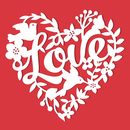 This image is a vintage paper cut style love floral heart lace. The heart lace is composed of flowers, leaves, vines, birds, and love phrase. The heart is white in colour set against a red background. Illustration