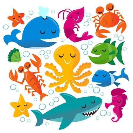 This image is a vector illustration of happy fun cartoon sea creatures set. The set includes a blue whale, a pink shrimpprawn, a orange crab, a green fish, blue fish, pink sea horse, blue green shark, yellow octopus, orange lobster, green seashell and tw Vector