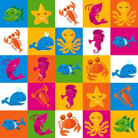 cangrejo caricatura: Esta imagen es una ilustraci�n vectorial de felices divertidas criaturas del mar de dibujos animados en 5x5 multicolor patr�n de azulejos de fondo. El patr�n de vida marina incluye una ballena azul, un camar�n rosado  gambas, un cangrejo de color naranja, un pez verde, pescado azul, rosa caballo de mar, tibur�n azul verde, y
