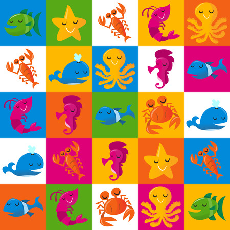 cartoon smile: This image is a vector illustration of happy fun cartoon sea creatures on 5x5 multicolor tiles pattern background. The sea life pattern includes a blue whale, a pink shrimpprawn, a orange crab, a green fish, blue fish, pink sea horse, blue green shark, y