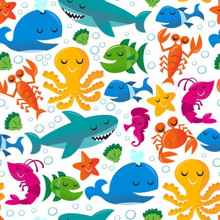 This image is a vector illustration of happy fun cartoon sea creatures on seamless pattern background. The sea life pattern includes whales,shrimpprawn, crab, fishes, sea horses, sharks, octopus, lobsters, seashells, starfishes and bubbles. The sea creat