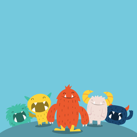 A vector illustration of cute furry monsters copy space. Vector