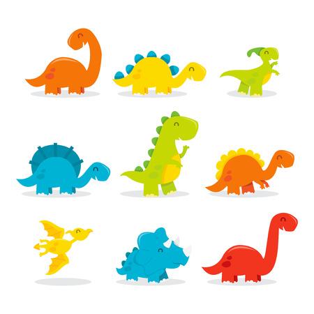 A cartoon vector illustration of cute and fun dinosaur set. Included in this set: t-rex, triceratops, tyrannosaurus, Pterodactyls, Stegosaurus, spinosaurus, long neck/Apatosaurus and more. Stock Illustratie