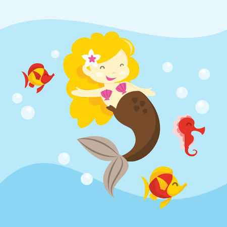 sea creature: A vector illustration of a cute cartoon blonde little mermaid and her sea creature friends. Illustration