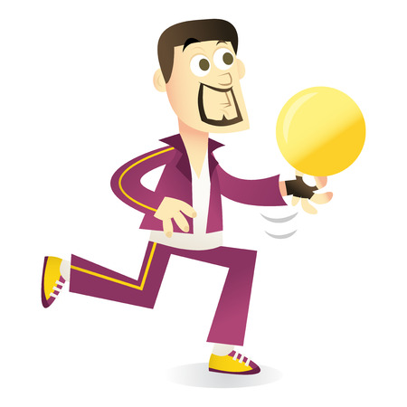 A vector illustration of a cartoon competitive bowler. Hes wearing a track suit and bowling shoes. Illustration