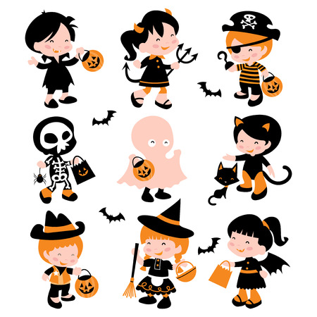 A cartoon vector illustration of a group of cute kids in halloween costume going trick or treating. Included in this set: boy in vampire costume, girl in devil costume, pirate boy, skeleton boy, ghost boy, kitty cat girl, cowboy, witch and girl in bat vam