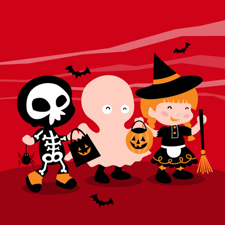 A cartoon vector illustration of a group of cute kids dressed up in typical halloween costume like ghost, witch and skeleton, going trick or treating. Illustration