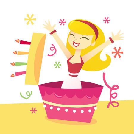 A cartoon vector illustration of a girl in surprise birthday cake. Ilustracja