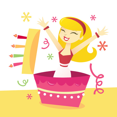 to surprise: A cartoon vector illustration of a girl in surprise birthday cake. Illustration