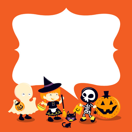 A cartoon vector illustration of a group of halloween kids and a blank copy space messagespeech bubble. Ideal for party invitations or holiday message announcement. Illustration