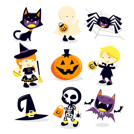 A vector illustration collection of halloween trick and treat holiday icons and happy characters. Included in this set:- black cat, ghost, spider, witch, pumpkin, vampire, witchs hat, skeleton boy and bat. Çizim