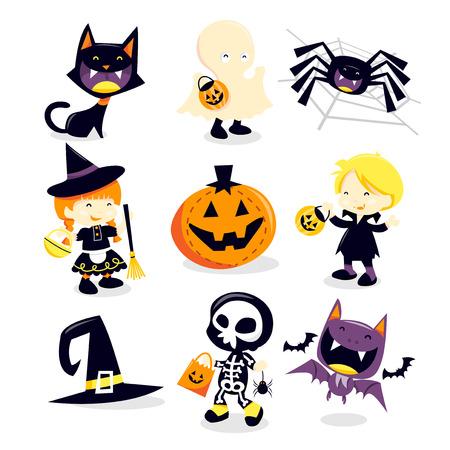 brujas caricatura: Una ilustraci�n vectorial colecci�n de Halloween truco y iconos de vacaciones de regalo y los personajes felices. Se incluyen en este conjunto: - gato negro, fantasma, ara�a, bruja, calabaza, vampiro, sombrero de la bruja, muchacho esqueleto y bate.
