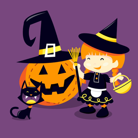 treating: A cartoon vector illustration of a happy girl in witch halloween costume going trick or treating with her pet cat.