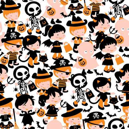 public celebratory event: A whimsical seamless pattern background of a group of cute kids in halloween costume going trick or treating. This repeat pattern is easily tile-able.