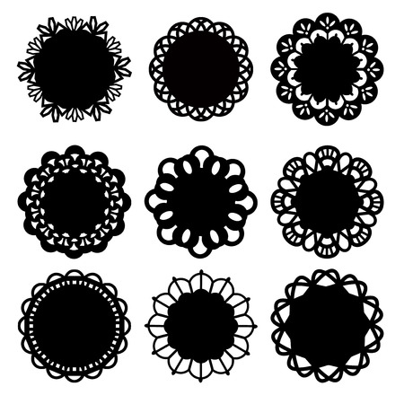 lace vector: A vector illustration set of nine different floral inspired doily lace decoration. Illustration
