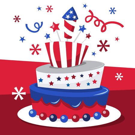 A vector illustration of a whimsical americana patriotic tier topsy turvy cake. Ideal for fourth of july celebration or political campaign celebration party.