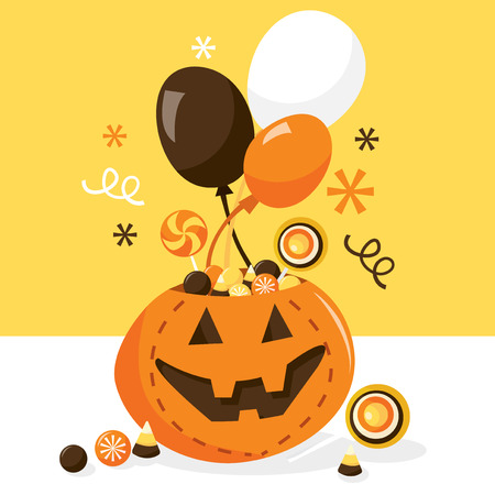 A vector illustration of a jack o lantern container that holds a bunch of candy treats for halloween. Ideal for party invitations or halloween promotion ad. Vector
