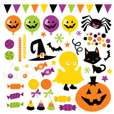 A vector illustration of whimsical fun retro halloween trick or treat design elements like candies, pumpkin, cat, and more. Ideal for party invitations, T-Shirts, web pages, desktop publishing, embroidery templates for digitizing, graphic design, holiday