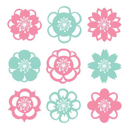 flower decoration: A vector illustration set of nine different modern flower filigree cutout decoration.