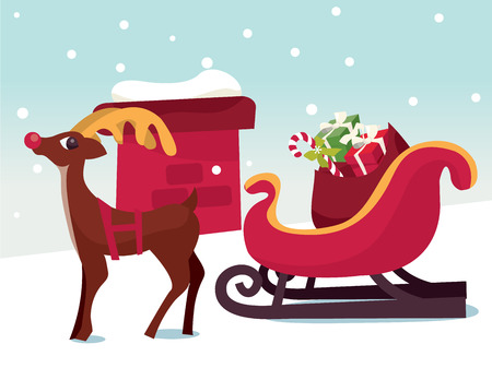 A vector illustration of a cartoon reindeer and christmas sleigh in a snowy rooftop.