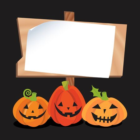 A vector illustration of a blank copy space wooden sign with a bunch of halloween jack o lantern pumpkins.