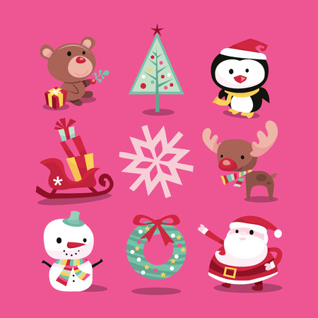 A vector illustration of modern whimsical christmas icons like christmas symbols and characters. Included in this set:- teddy bear, christmas tree, penguin, sleigh with gifts, snowflake, reindeer, snowman, wreath and santa claus.