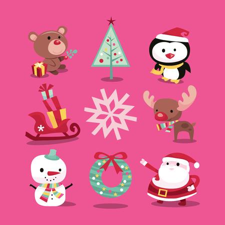 pinguinos navidenos: Una ilustración vectorial de iconos de la Navidad caprichosas modernas, como símbolos de la Navidad y personajes. Incluido en este conjunto: - oso de peluche, árbol de navidad, pingüino, trineo con regalos, copo de nieve, renos, muñeco de nieve, guirnalda y Papá Noel.