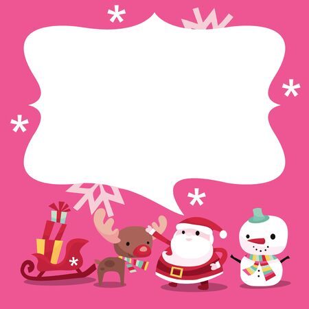 whimsical: A vector illustration of a cute modern whimsical christmas theme bubble speech copy space along with santa claus, snowman, reindeer and sleigh with gifts.