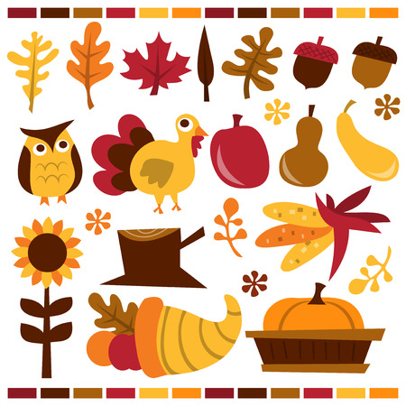 cornucopia: A vector illustration collection of a retro fall harvest theme design clip arts. Included in the set:- autumn leaves, nuts, owl, turkey, pumpkin, gourd, sunflower, tree stump, corn, cornucopia and more.