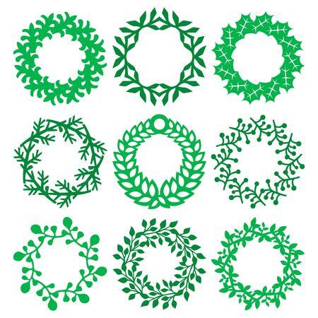 A vector illustration of nine different intricate christmas wreath design. Stock Illustratie