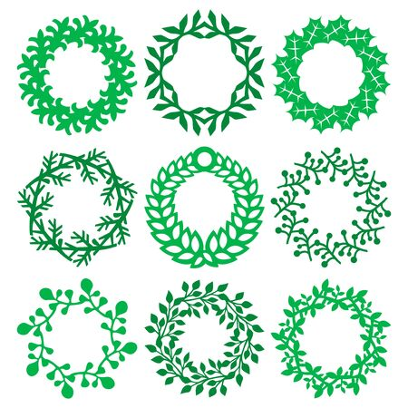 A vector illustration of nine different intricate christmas wreath design. Vectores