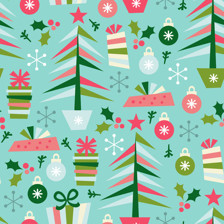 A vector illustration of christmas elements seamless pattern background. This pattern is easily tile-able or repeated. Vector