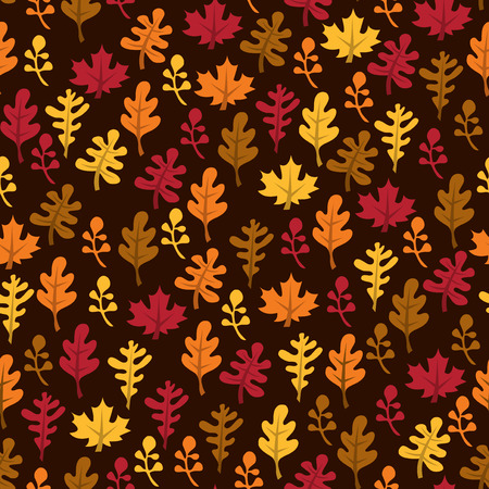 fall harvest: A vector illustration of a retro fall harvest leaves theme seamless pattern background.