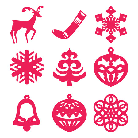 papercut: A vector illustration collection of scandinavian folklore inspired christmas symbols in papercut style. Illustration