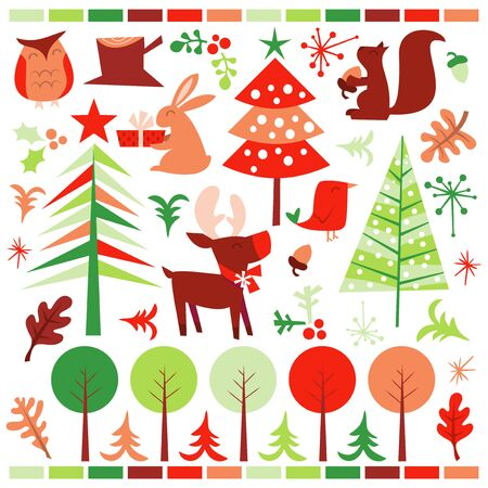 public celebratory event: A vector illustration of a cute retro inspired festive forest holiday design elements. Ideal for party invitations, T-Shirts, web pages, desktop publishing, embroidery templates for digitizing, graphic design, holiday greeting cards, e-cards, homemade cra Illustration