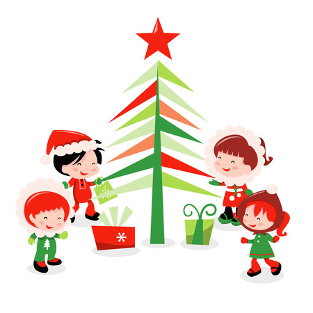 A cartoon vector illustration of a bunch of cute kids in winter wear surrounding a christmas tree with gifts. Vector