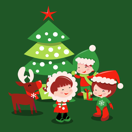 public celebratory event: A cartoon vector illustration of a bunch of cute kids in winter wear surrounding a christmas tree  and a reindeer. Illustration