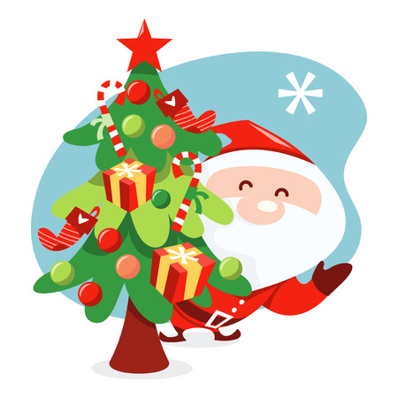 clause: A cartoon vector illustration of a santa clause playing peekaboo behind a christmas tree.