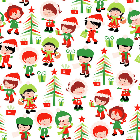 A vector illustration of cute christmas winter kids holiday theme seamless pattern background. Perfect for gift wrapping. Vector